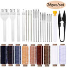 Leather Repair Tool Kit Waxed Thread Cord Sewing Needles Stitching Punch Awl Set