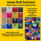 6mm Buttons Plastic Red White Black Pink Blue Sewing Ivory Doll Green Blue Mix