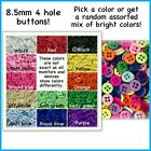 40 Or 80 8.5mm Buttons Plastic Red White Black Pink Blue Ivory Doll Green 4 Hole
