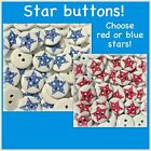 Star Buttons 15mm Wood Sewing Scrapbook Red White Blue Patriotic Flag Stars