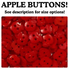 Apple Buttons 2 Hole Small Large Apple Button Sewing Red Green Yellow 12mm 16mm