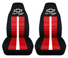 Fits Chevrolet Camaro Front Car Seat Covers Blk-red Wbowtiecamarorsss...