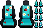 Vw Beetle Front Car Seat Covers Blacktiffany Blue Wdaisyladybugbutterfly...