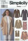 Simplicity 5306 Misses Coat Jackets And Vests  Sewing Pattern