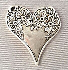 Antique Silver Plated 28x26mm Shabby Chic Spoon Floral Flower Heart Charms Q6