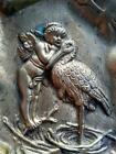 Old Antique Bronze Stork Cupid Cherub Baby Calling Card Announcement Tray Dish