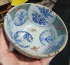 Old Asian Art Chinese Pottery Footed Bowl Dish Painted Decoration Blue