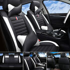 Car Seat Covers Top Pu Leather Front Rear Full Set Universal For 5-seats Cars