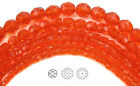 Czech Fire Polished Round Faceted Glass Beads In Hyacinth Color 16 Str Orange