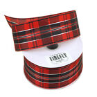 Plaid Checkered Christmas Ribbon Wired Edge 1-12-inch 10 Yards