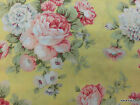 Large Shabby Floral Rose Fabric Pink Yellow Peony Flowers Cotton Yardage T16