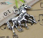 Wholesale Lot Retro Jewelry Making Diy Two-horse Alloy Charms Pendant 29x22mm