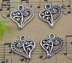 Wholesale Lot Retro Jewelry Making Diy Heart Alloy Charms Pendant 15x14mm