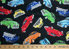 Vintage Classic Red Green Yellow Blue Cars On Black Quilting Cotton Fabric S10