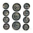 Sets Of Multi-hued Gray Blue Brown Genuine Horn Suit And Coat Buttons In 4 Sizes