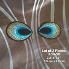 Silver Black Sequins Peacock Feathers Embroidered Feather Patch Wing Applique
