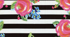 Black White Stripe Watercolor Rose Bw Striped Floral Cotton Fabric A21