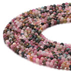 Watermelon Tourmaline Faceted Round Gemstone Loose Beads 3mm4mm 15.5 Long