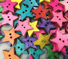 Diy Wooden Colorful Stars Sewing Buttons Decoration 2-holes Scrapbooking 22mm