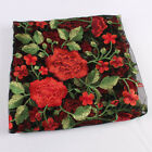 Thick Red Peony Flower Embroidery Lace Fabric Net Fabric Floral By The Yard