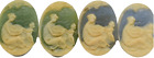 Vintage Green Or Blue Oval Woman Child Apple Tree Cabochon Cameo Flat Back 24mm