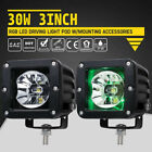 Pair 3 Inch Cree Led Work Light Pods Offroad Driving Rgb Lights Bar Wwiring Kit