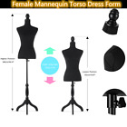 Female Mannequin Torso Dress Clothing Form With Adjustable Wood Tripod Stand Us