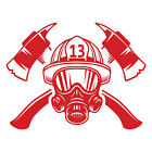 Personalized Fire Fighter Helmet With Axes Custom Number Vinyl Decal Sticker