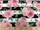 Pink Rose Stripe Floral Pink Watercolor Roses Black White Cotton Fabric A12
