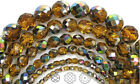 Czech Fire Polished Round Faceted Glass Beads In Topaz Vitrail Coated 16 Brown