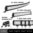 Curved 52inch Led Light Bar 22in 4 18w Pods Offroad Suv 4wd Atv Vs 525424