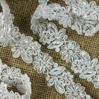 Bridal Lace Trim Alencon Embroidered Corded Sequined Organza Beautiful Floral 1