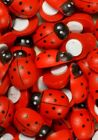 High Quality Wood Flatback Scrapbook Ornament Ladybug Button Crafts Multi-sizes