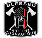 Thin Red Line Decal-blessed Are The Courageous Decal - Various Sizesmaterials