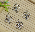 Wholesale Lot Retro Jewelry Making Lucky Clover Alloy Charms Pendant Diy 17x12mm