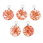 5 Pcs Round Crystal Glass Pendant Diy Necklace Charm Jewelry Making Supplies
