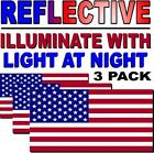 Reflective American Flag Usa Pack Of 3 Decal Sticker 3m Military-marines-army