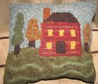 Primitive Hooked Rug Salt House Red Or Blue Pillow Folk Art Americana