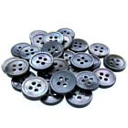 12 Black Mother Of Pearl Buttons Natural Shell Buttons Black Iridescent 4 Hole