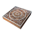 4 Inches Square Wooden Assorted Print Stamp Blocks For Textile Block Printing
