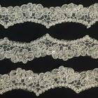 Bridal Lace Trim Scalloped Alencon Hand Beaded Embroidered Corded Sequined Organ