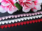 Exquisite Heart Embroidery Lace Trim Ribbon - Price By The Yard Select Color