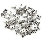 100pcs Retro Silvergoldenbronze Tone Leaf Bead Caps 6mm U Choose Color