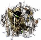Ripped Winter Camo Grim Reaper Bow Hunter Hood Vinyl Graphic Decal