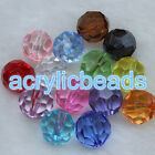 4mm-20mm Clear Acrylic Crystal Faceted Round Loose Plastic Ball Spacer Beads Diy