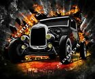 Iron On T-shirts Other Fabrics Transfer Graphic Old Time Hot Rod
