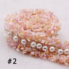 1 Yard Vintage Pearl Beaded Embroidery Lace Trim Ribbon Fabric Diy Clothes Dress