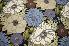 100 Cotton Upholstery Drapery Canvas Duck Blue Floral Tropical Fabric 55w