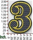 Large Sew Or Iron On Patch Numbers 1 2 3 4 5 6 7 8 9 0 Black With Yellow Border