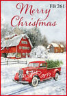 Vintage Merry Christmas On A Farm Red Truck Fabric Block Quilting Sewing Fb 261